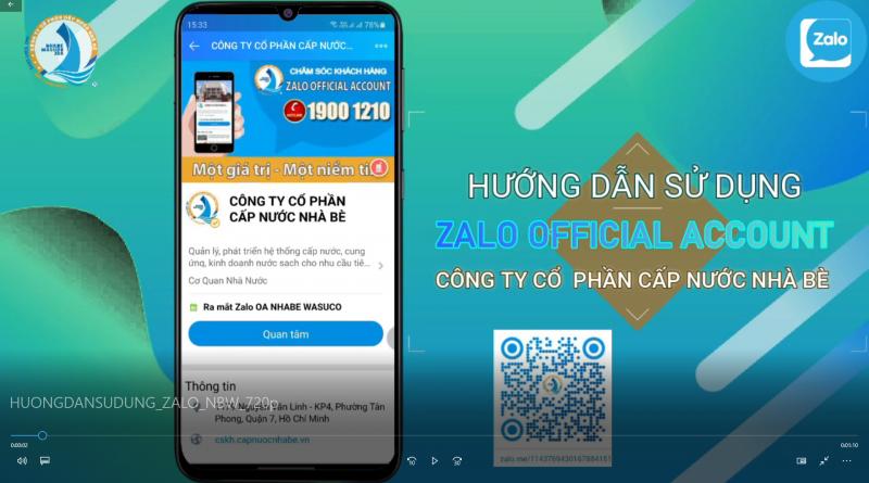 Hướng dẫn đăng ký sử dụng ZALO Official Account, App Android, Website Cấp nước Nhà Bè (NBW)