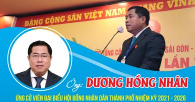 Chương trình hành động của ông Dương Hồng Nhân – ứng cử viên đại biểu HĐND Thành phố nhiệm kỳ 2021 – 2026(10/05/2021)